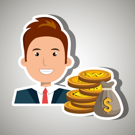 man with bag coins isolated icon design, vector illustration graphic Vector Illustration