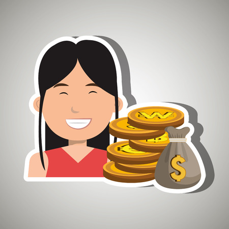 commission: woman with bag coins isolated icon design, vector illustration  graphic Illustration