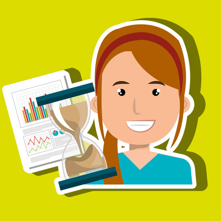 lady clock: woman with hourglass and statistics isolated icon design, vector illustration  graphic Illustration
