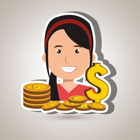 rich girl: woman with coins isolated icon design, vector illustration  graphic