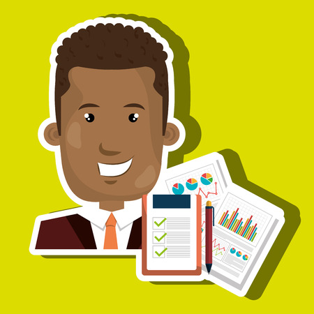 financial managers: businessperson with statistic graph isolated icon design, vector illustration  graphic