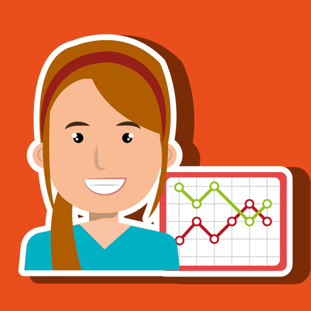 businessperson: businessperson with statistic graph isolated icon design, vector illustration  graphic
