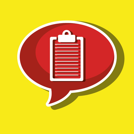 clipboard isolated: speech bubble with clipboard isolated icon design, vector illustration  graphic