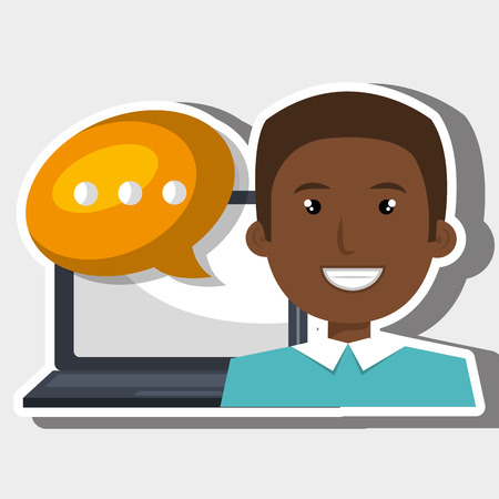 communicating: person communicating online isolated icon design, vector illustration  graphic