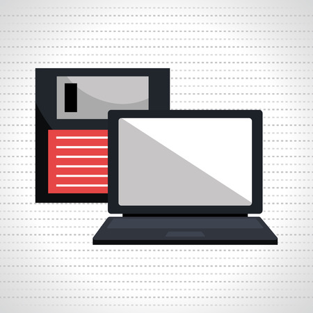 laptop isolated: floppy disk with laptop isolated icon design, vector illustration  graphic Illustration