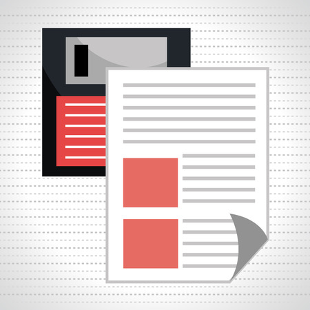 floppy drive: floppy disk with document isolated icon design, vector illustration  graphic