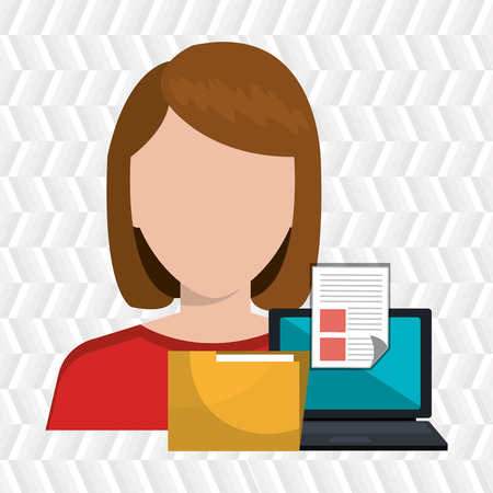 filing documents: computer user filing documents isolated icon design, vector illustration  graphic