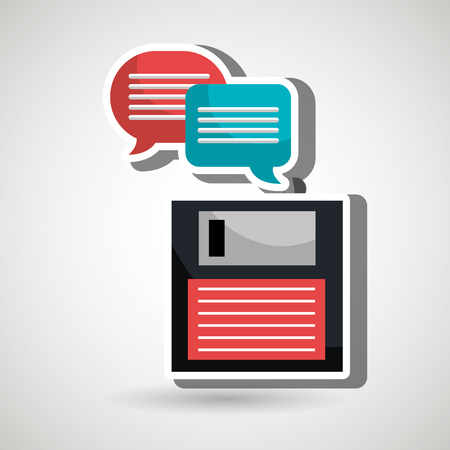 floppy drive: speech bubbles with floppy isolated icon design, vector illustration  graphic