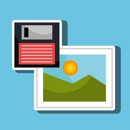 floppy drive: floppy disk with picture  isolated icon design, vector illustration  graphic