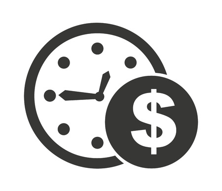 time account: clock and money isolated icon design, vector illustration  graphic