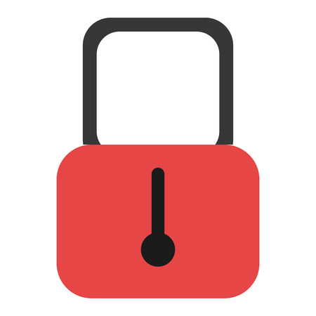 security lock: black and red security lock over isolated background, vector illustration