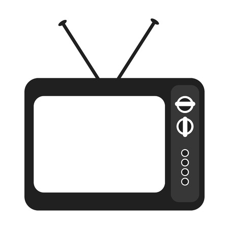 old television: black and white old television device over isolated background, vector illustration Illustration