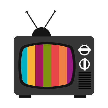 old television: black old television with colorful stripes on the screen over isolated background, vector illustration Illustration