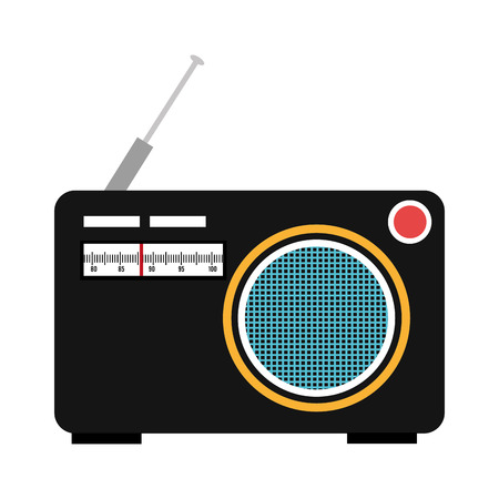 boombox: black and blue old stereo over isolated background, vector illustration Illustration