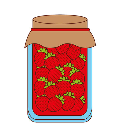preserves: delicious strawberry fruit preserves isolated icon design, vector illustration  graphic