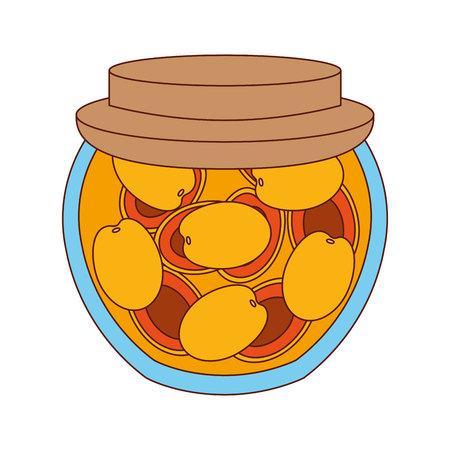 preserves: delicious mango fruit preserves isolated icon design, vector illustration  graphic Illustration