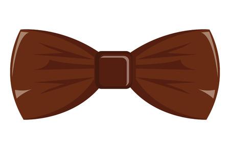 vista frontale di papillon marrone su sfondo isolato, concetto di moda hipster, illustrazione vettoriale