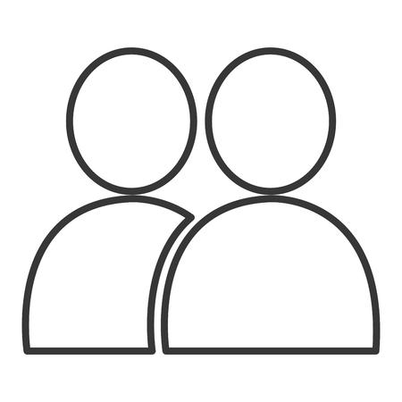 silhouete: Couple silhouete line icon, teamwork theme, vector illustration,