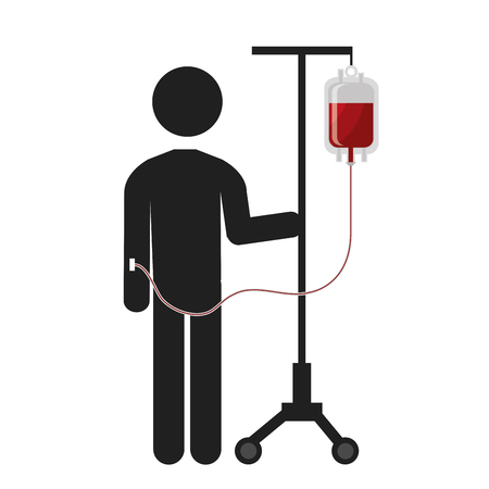transfuse: Patient Blood transfusion with bag pictogram, vector illustration Illustration