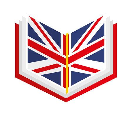 angielska książka na białym tle ikona designu, grafika ilustracji wektorowych