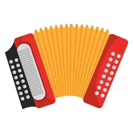 Fisarmonica strumento musicale icona colorata design, illustrazione vettoriale immagine.