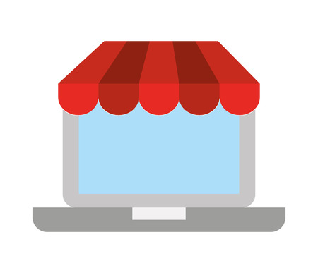 laptop isolated: electronic commerce with laptop   isolated icon design, vector illustration  graphic