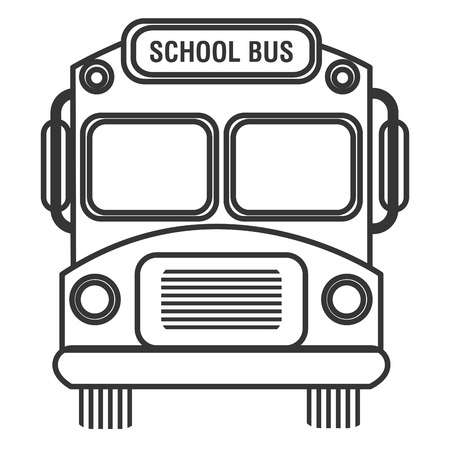 czarno-biały autobus szkolny przedni widok na pojedyncze tle, ilustracji wektorowych