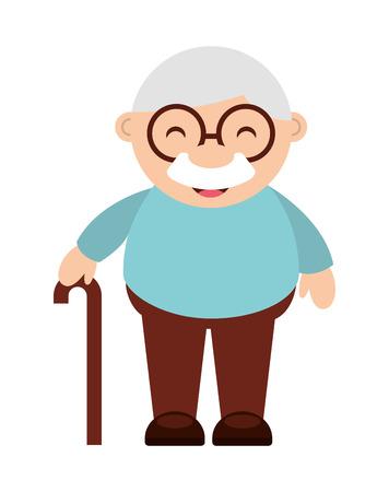 귀여운 할아버지 격리 된 아이콘 디자인, 벡터 그림 그래픽