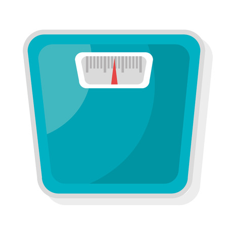 over weight: blue weight balance front view over isolated background, vector illustration