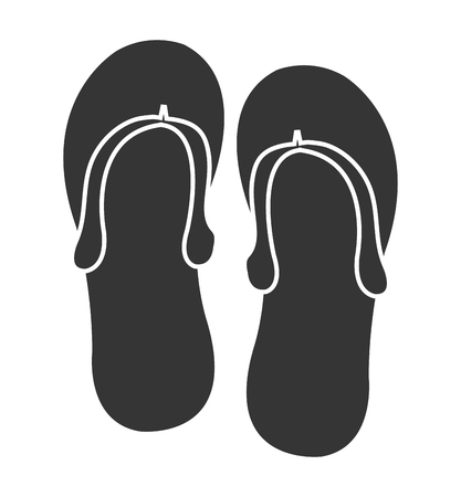 sandals isolated: black and white sandals front view over isolated background, vector illustration