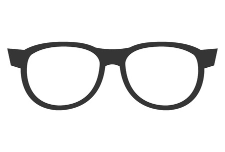 eyeglass: black eyeglass front view over isolated background, vector illustration