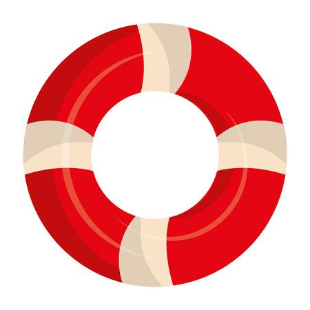 oranje en wit marine zweven vooraanzicht over geïsoleerde achtergrond, vector illustratie Stock Illustratie