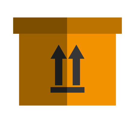 this side up: Delivery box with this side up arrow sign, vector illustration eps10