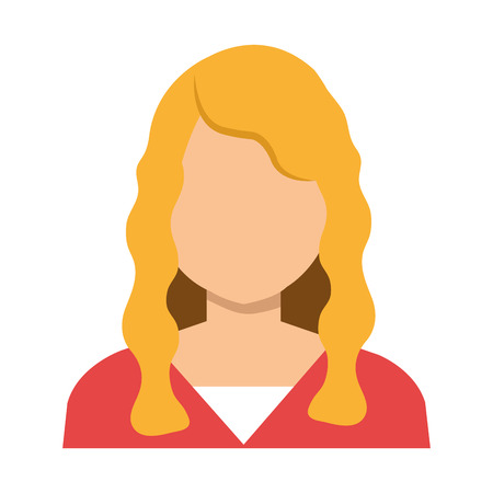 nice hair: Elegant woman with nice hair and red blouse, vector illustration.