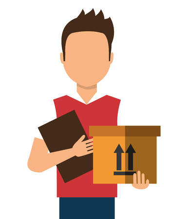 delivering: Courier delivering a box colorful cartoon, vector illustration eps10 Illustration