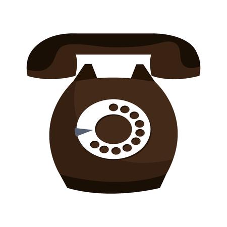 telefono antico: telefono antico con pulsanti rotondi isolato su sfondo bianco, illustrazione vettoriale.