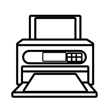 office product: Printer technology device isolated on white background, vector illustration.