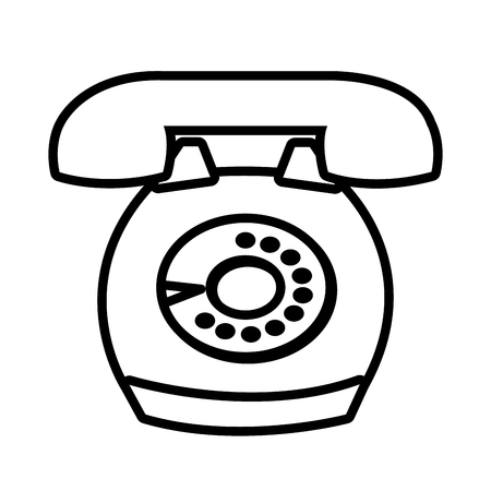 antique telephone: Antique telephone with round buttons isolated on white background, vector illustration. Illustration