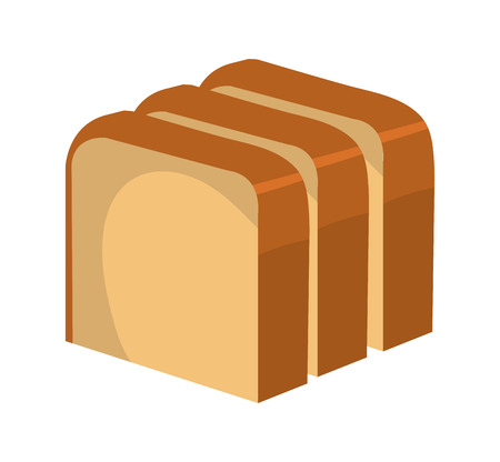 nutriments: Fresh bread isolated icon on white background, vector illustration.