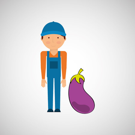 market gardener: farmer with vegetable isolated icon design, vector illustration  graphic Illustration
