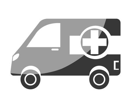emergency vehicle: Ambulance emergency vehicle with cross symbol on it, vector illustration.