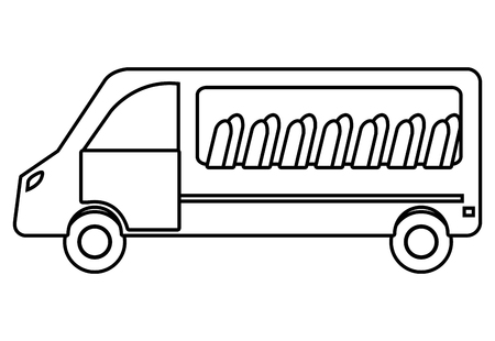 white van: White van with windows and chairs visible, isolated icon.