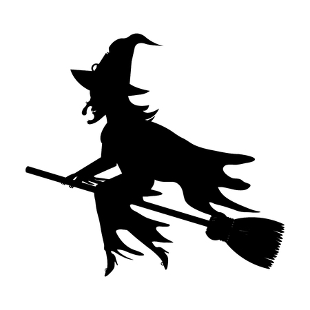 broomstick: Witch flying with broomstick cartoon silhouette, vector illustration.