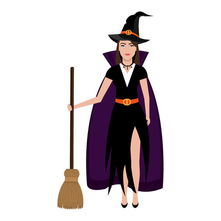broomstick: Beautiful witch costume with broomstick and hat cartoon, vector illustration. Illustration