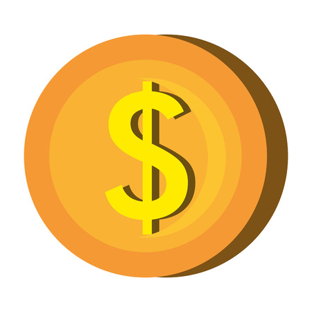 abundance of money: Gold coin icon over white background, vector illustration. Illustration
