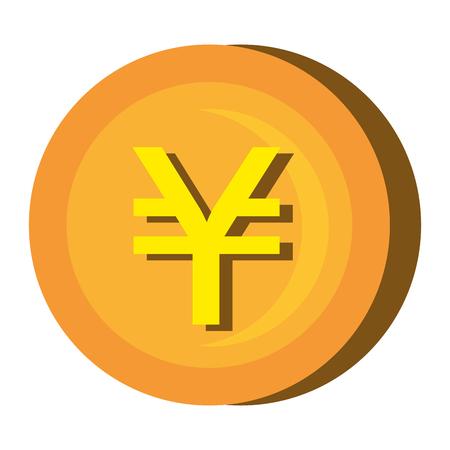 abundance: Gold coin icon over white background, vector illustration. Illustration