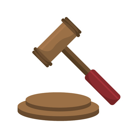 trial balance: Justice gavel isolated icons over white background, vector illustration. Illustration