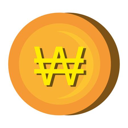 Gouden munt pictogram op een witte achtergrond, vector illustratie.
