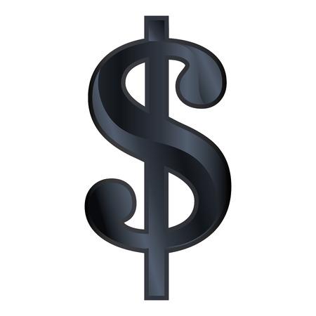 abundance: Money black symbol isolated over white background, vector illustration.