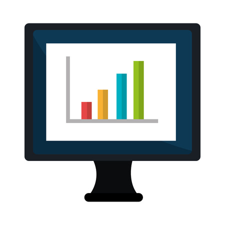 statics: Computer with statistics bars showing growth on the screen, vector illustration. Illustration